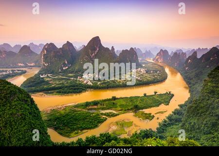 Karst Mountains of Xingping, Guilin, China. - Stock Photo