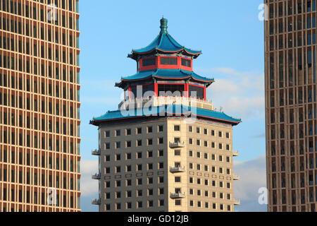 ASTANA, KAZAKHSTAN - JULY 03, 2016: Beijing Palace Soluxe Hotel at sunset  in downtown of Astana city, Kazakhstan. - Stock Photo