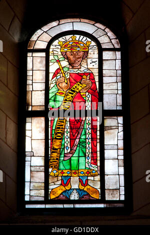 Stained glass window in the Cathedral of Our Lady, one of the world's oldest figurative stained glass windows, mid - Stock Photo