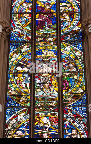 Stained glass window in the Cathedral of Our Lady, Cathedral of Augsburg, Augsburg, Bavaria - Stock Photo