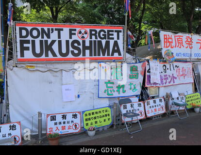 Anti nuclear occupy tent pitched near National Diet Building in Nagatacho Tokyo Japan. - Stock Photo
