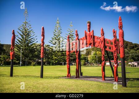 Pouwhenua, Waitangi Treaty Grounds, Bay of Islands, Northland Region, North Island, New Zealand - Stock Photo