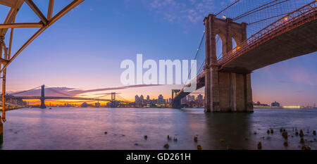 Brooklyn Bridge and Manhattan Bridge beyond, over East River, New York, United States of America, North America - Stock Photo