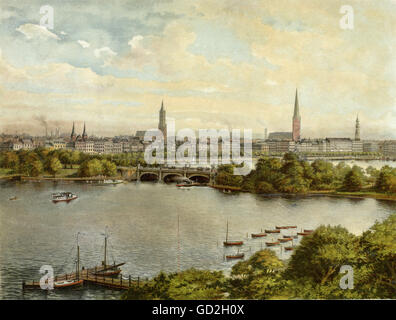 geography / travel, Germany, Hamburg, bridges, view towards the Lombardsbruecke, postcard, circa 1899, Additional - Stock Photo