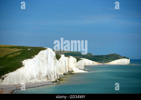 The iconic view of the English coast, Seven Sisters chalk cliffs, East Sussex - Stock Photo