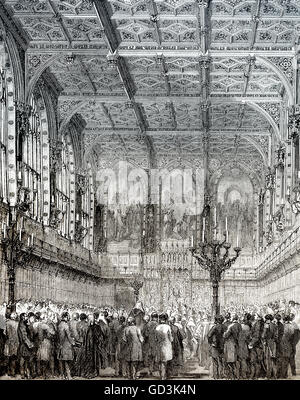 The House of Lords, upper house, London, England, 19th century - Stock Photo