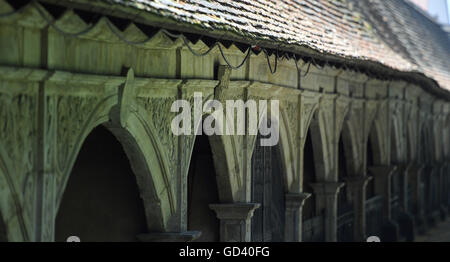Sunlight shining on the arcade arches at Stadtgottesacker in Halle/Saale, Germany, 12 July 2016. The restoration - Stock Photo