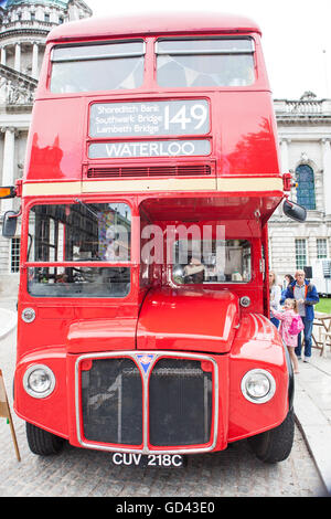 Belfast, UK. 12th July 2016.  the front of a Red London double decker bus in the grounds of Belfast City hall for - Stock Photo