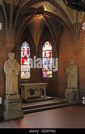 Melanchthon House, Memorial Hall, Reformation Statues of Martin Luther and Philipp Melanchthon, stained-glass windows, - Stock Photo