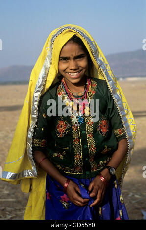 A girl dressed in Rajasthani clothes - Stock Photo