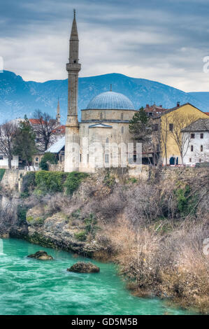 City of Mostar on the Neretva River, named after the bridge keepers who in the medieval times guarded the Stari - Stock Photo