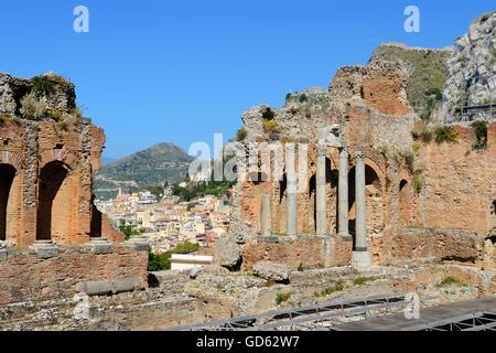 Greek Theatre - Taormina, Sicily, Italy - Stock Photo