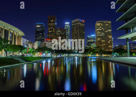 Los Angeles downtown and reflection at night - Stock Photo
