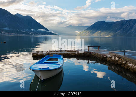Boka Kotorska (the Bay of Kotor) from the village of Dobrota, Montenegro - Stock Photo