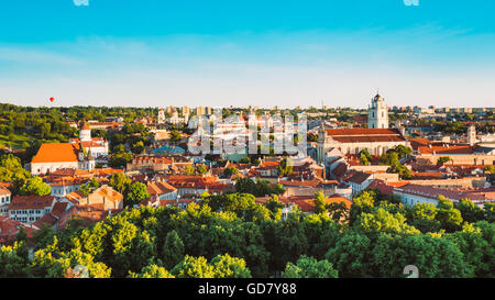 Summer Sunset Sunrise Over Cityscape Of Vilnius, Lithuania. Beautiful Panoramic View Of Old Town at Evening. View - Stock Photo