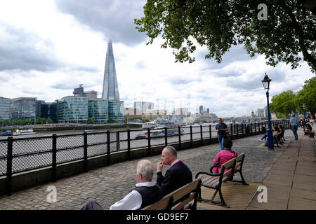 The Shard a London landmark and London skyline from Victoria Embankment London - Stock Photo