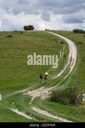 People mountain biking in the South Downs National Park, England, UK - Stock Photo