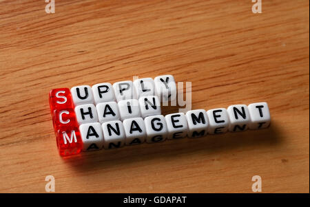 SCM Supply Chain Management written on dices on wooden background - Stock Photo