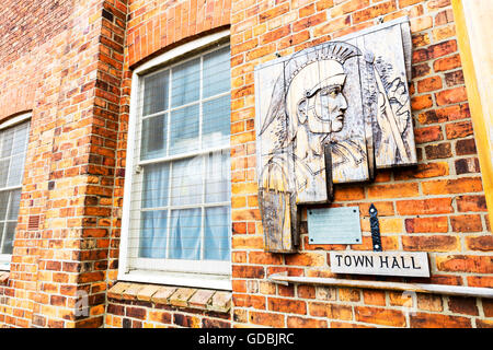Caister town hall building sign exterior Lincolnshire UK England GB centre center  buildings towns - Stock Photo