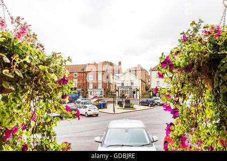 Caister Lincolnshire UK England GB market place town centre center shops buildings towns parking centres centers - Stock Photo