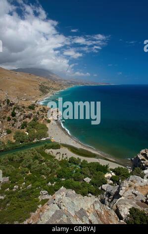 Preveli Beach, South Coast, Crete, Greece - Stock Photo
