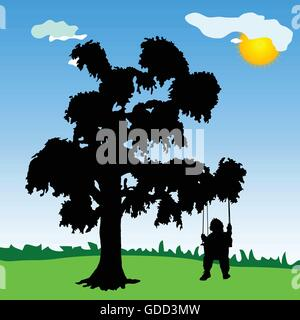 baby on a swing with tree silhouette and sun - Stock Photo