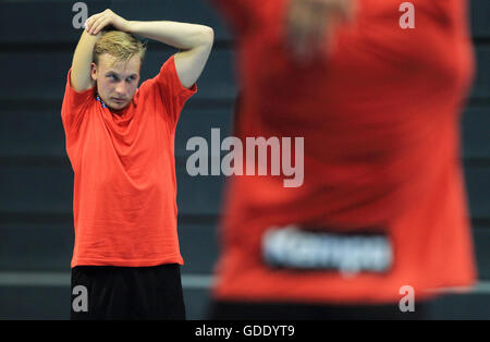 Magdeburg, Germany. 15th July, 2016. Daniel Pettersson (L), new recruit from Sweden for the German Bundesliga handball - Stock Photo