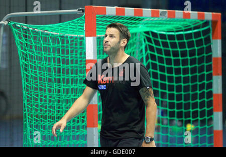 Magdeburg, Germany. 15th July, 2016. Bennet Wiegert, coach of the German Bundesliga handball club SC Magdeburg, - Stock Photo