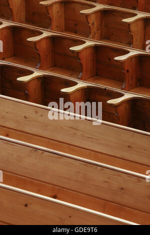 Pews of wood,Switzerland - Stock Photo