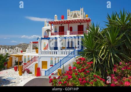 Hotel nearAno Mera, Mykonos, Cyclades, Greece - Stock Photo