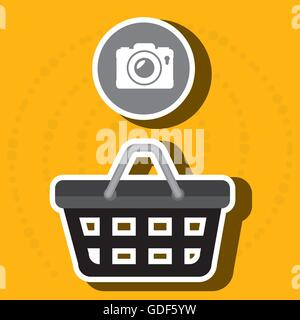 red basket and camera isolated icon design - Stock Photo