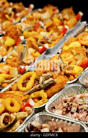 Seafood display for take away in the Boqueria the famous food market next to the Rambla of Barcelona, Catalonia, - Stock Photo