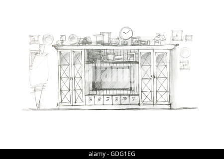 graphical sketch of an entertainment wall for playing room drawn with pencil - Stock Photo