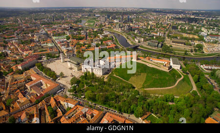 AERIAL. Beautiful sunny day aerial panorama shot of old town in capital of Lithuania, Vilnius - Stock Photo