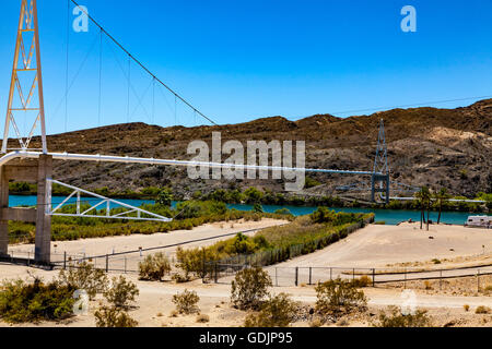A Pipe Bridge over the Colorado River at the head of Topock Gorge - Stock Photo