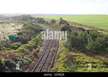 railway tracks countryside trains locomotives - Stock Photo
