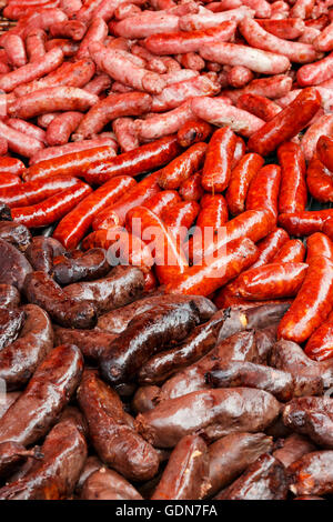 Sausage detail on a traditional craftsman market.Vertical image. - Stock Photo