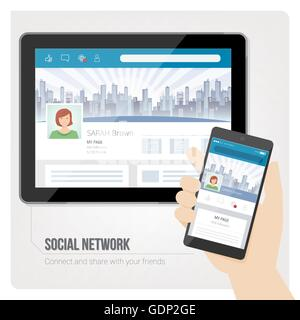 Social networks and user profiles on tablet and smartphone - Stock Photo