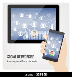 Hand holding smartphone and tablet with social media network app interface - Stock Photo