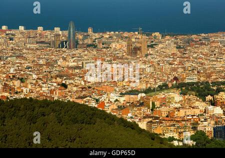 Barcelona, as seen from Collserola Park, Barcelona, Spain - Stock Photo