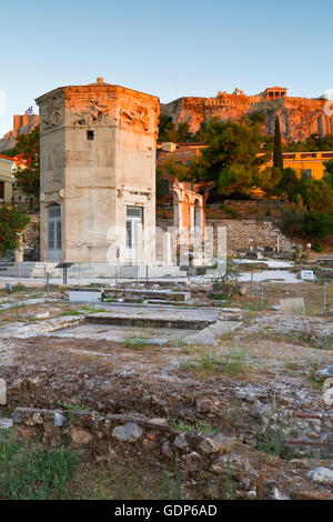 Remains of the Roman Agora, Tower of Winds and Acropolis in Athens, Greece. - Stock Photo