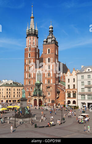 St Mary Basilica in the Main Square of Krakow, Poland. - Stock Photo