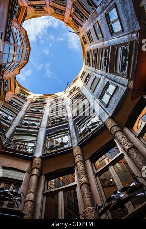inner courtyard, Casa Mila, La Pedrera, Barcelona, Catalonia, Spain - Stock Photo