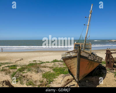 Boat in Punta del Diablo, Uruguay - Stock Photo