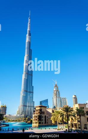 View of Burj Khalifa tower in Dubai, the UAE - Stock Photo