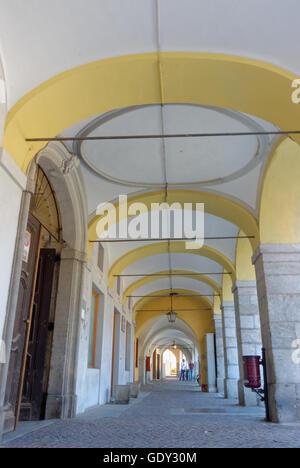 Arcades on 'via Carlo Massimiliano Roero' street at Cuneo - Stock Photo