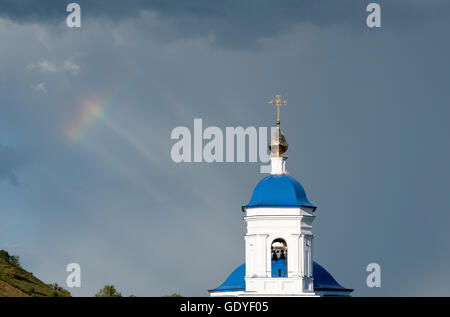 View on Church of The Kazan Icon of The Mother of God in Svyato-Bogorodicky monastery , Russia - Stock Photo