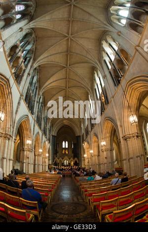 Ireland, Dublin, Christ Church Cathedral interior, choir concert, fisheye lens view - Stock Photo