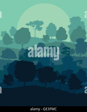 Mystical forest vector background landscape concept for poster - Stock Photo