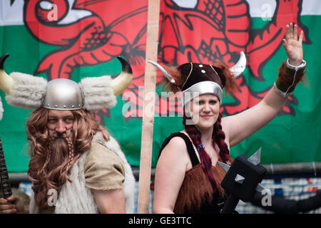 Aberystwyth Wales UK, Saturday 23 July 2016  People in viking fancy dress taking part in the annual carnival and - Stock Photo
